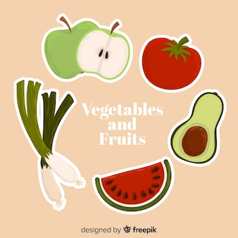 Hand drawn vegetables and fruits background