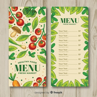Hand drawn vegetables healthy menu template