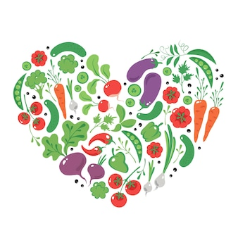 Рисованной овощи в сердце органические веганские продукты и здоровое питание