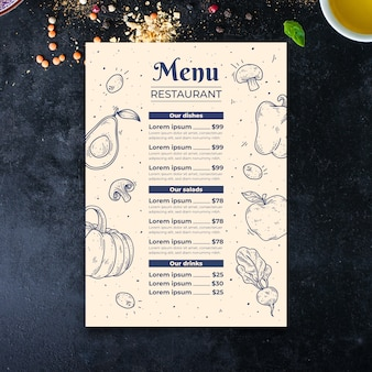 Hand drawn vegetables menu template