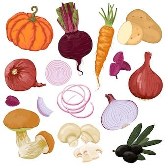 Рисованной овощи апельсин и бордовый