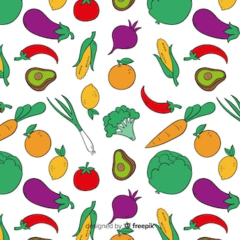 Hand drawn vegetables pattern background