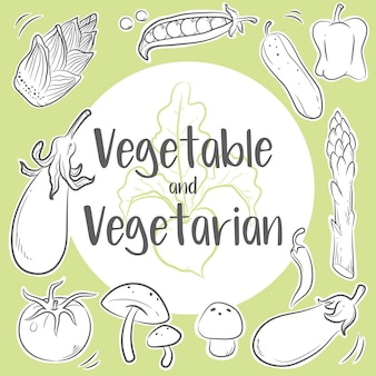 Hand drawn vegetables and vegetarian arranged in a circle