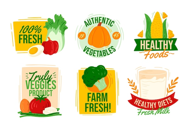 Hand drawn vegetarian badges