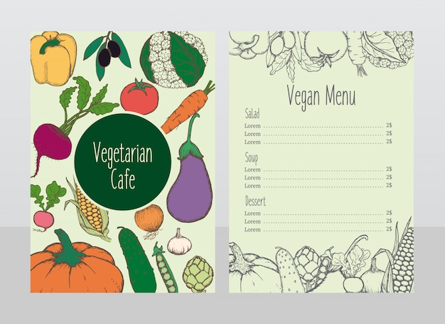Hand drawn vegetarian cafe menu template