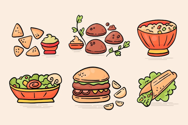 Hand drawn vegetarian food collection