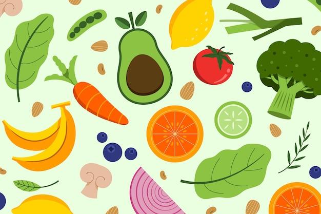 Коллекция рисованной вегетарианской еды