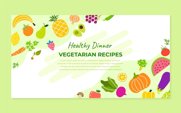 Hand drawn vegetarian food facebook post