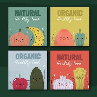 Post di instagram di cibo vegetariano disegnato a mano