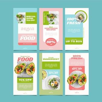 Storie di instagram di cibo vegetariano disegnate a mano