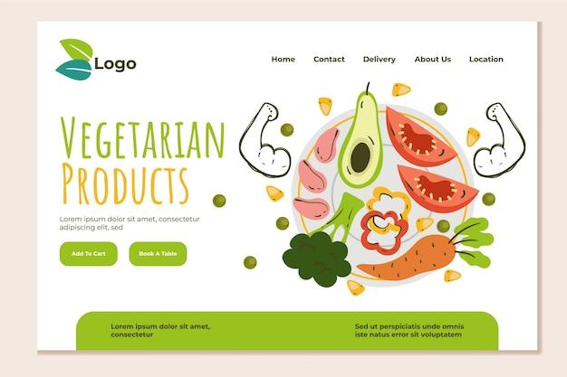 Modello di pagina di destinazione del cibo vegetariano disegnato a mano