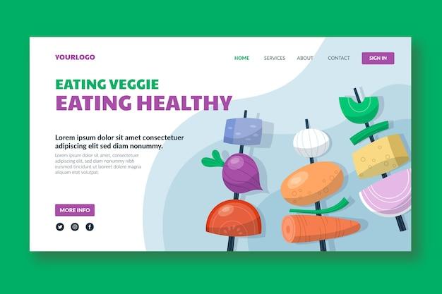 Нарисованный рукой шаблон целевой страницы вегетарианской еды
