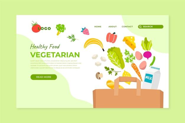 Hand drawn vegetarian food landing page