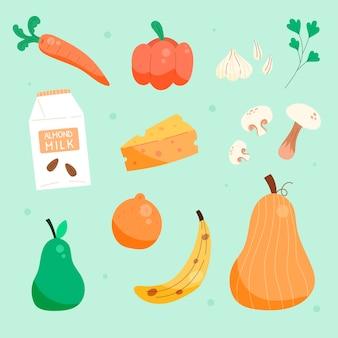 Hand drawn vegetarian food pack