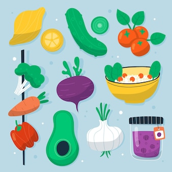 Набор рисованной вегетарианской еды
