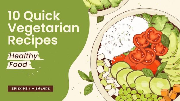 Miniatura di youtube di cibo vegetariano disegnato a mano