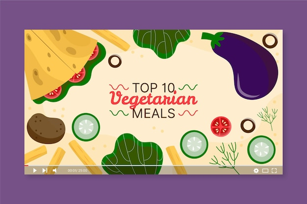 Miniatura di youtube di pasti vegetariani disegnati a mano