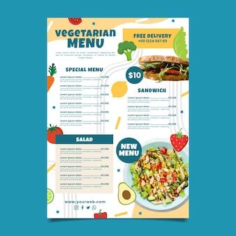 Hand drawn vegetarian menu template