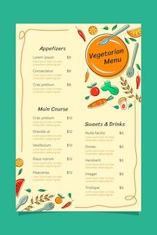 Hand drawn vegetarian menu