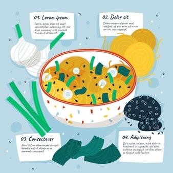 Ricetta vegetariana disegnata a mano