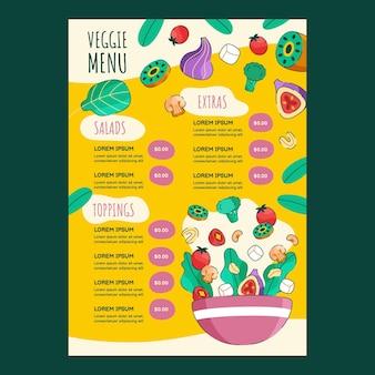 Modello di menu del ristorante vegetariano disegnato a mano