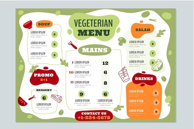 Ручной обращается шаблон меню вегетарианского ресторана