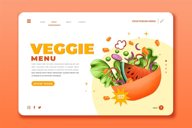 Pagina di destinazione del menu vegetariano disegnata a mano