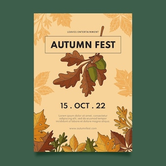 Hand drawn vertical autumn flyer template