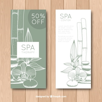 Hand drawn vertical banners for the spa