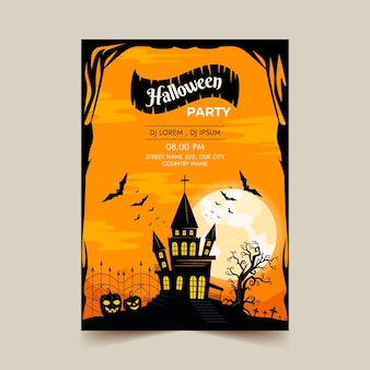 Hand drawn vertical halloween party flyer template
