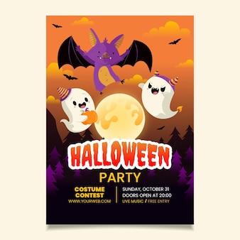 Modello di volantino festa di halloween verticale disegnato a mano