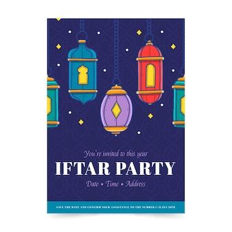Modello di invito iftar verticale disegnato a mano