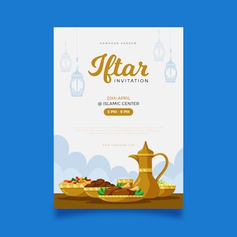 Hand drawn vertical iftar poster template
