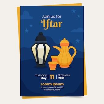 Modello di poster iftar verticale disegnato a mano