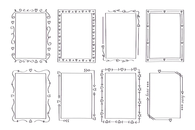 Hand drawn vertical ornamental frame collection