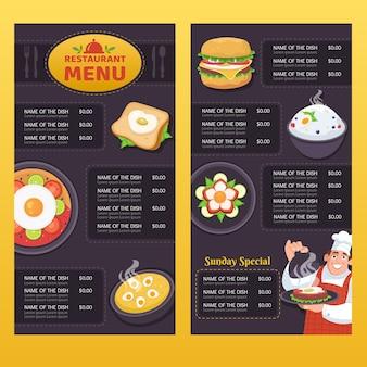 Modello di menu ristorante verticale disegnato a mano