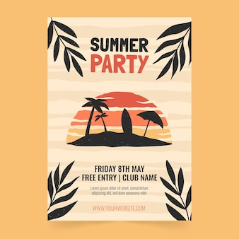 Hand drawn vertical summer party poster template