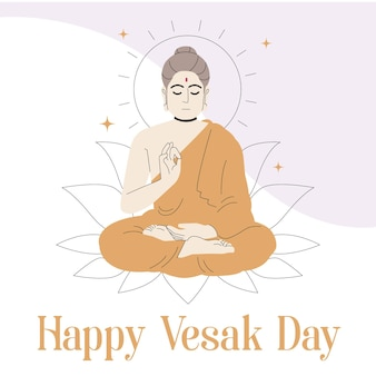 Hand drawn vesak day illustration