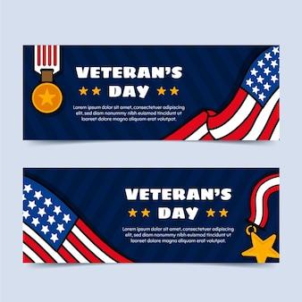 Hand drawn veteran's day horizontal banners set