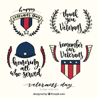 Hand drawn veterans day labels
