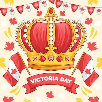 王冠と手描きのビクトリアデーのイラスト