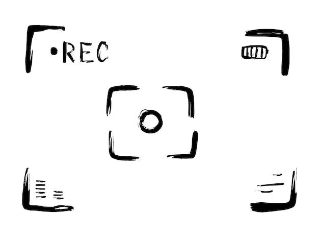 Hand drawn video camera viewfinder. vector.