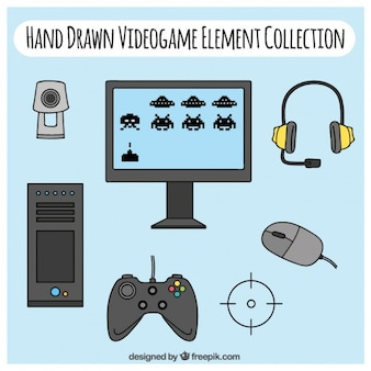 Hand drawn video game elements