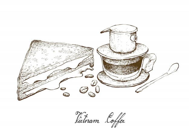 Hand drawn of vietnam coffee with cheese sandwich