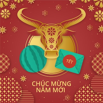 Hand drawn vietnamese new year