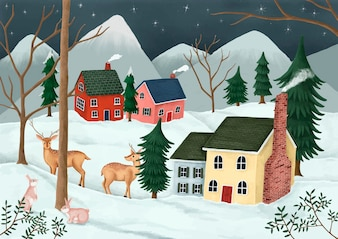 Hand-drawn village on a starry night with deer and rabbits in the neighborhood