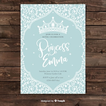 Hand drawn vine princess party invitation template