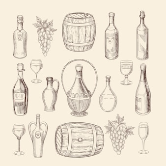 Hand drawn vineyard sketch and doodle wine vector elements. vineyard doodle and grape hand drawn, wine alcohol illustration