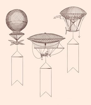 Hand drawn vintage air balloons with hanging wide ribbons