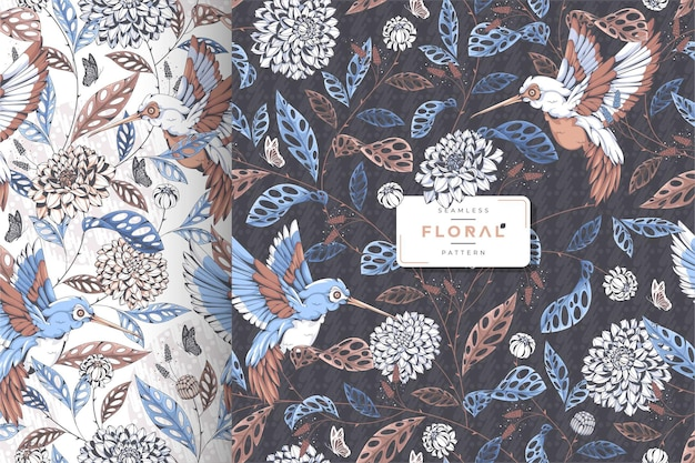 Нарисованная рукой винтажная коллекция цветочного узора батика